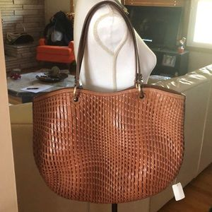 Cole Haan brown leather weave bag purse